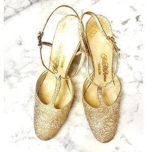 SAKS FIFTH AVE Vintage Gold Brocade T-Strap Heels